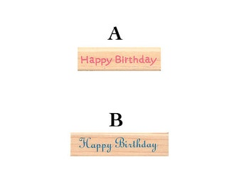 "Pretty Japanese ""Happy Birthday"" Wooden Rubber Stamp for Cards, Invitations, Tags, Scrapbooking, Packaging, Party Favors"