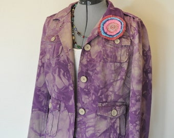 "Purple Medium Cotton JACKET - Dusty Lavender violet Dyed Upcycled Gap Cotton Safari Blazer Jacket - Adult Womens Size 10 Medium (38"" chest)"