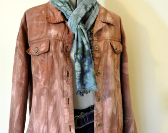 Brown Large Denim JACKET - Cocoa Brown Hand Dyed Upcycled Denim & Co. Denim Trucker Jacket - Adult Women Large (46 chest)