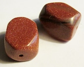 Red Goldstone faceted nugget beads set of 2
