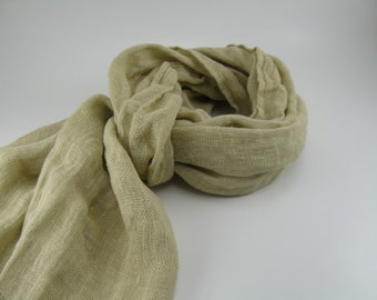 Handmade Linen Scarf --- Wheat