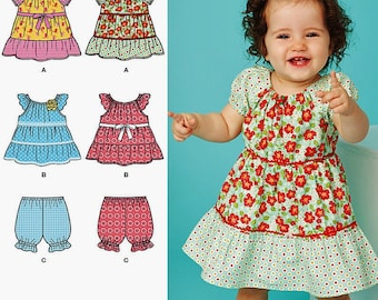 Toddler Dress Pattern, Baby Dress Pattern, Easy Pullover Dress Pattern, Sz Nb to 18 months, Simplicity Sewing Pattern 1669