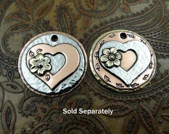 Layers of Love Heart and Flower Dog ID Tag-Pet ID Tag-Handmade Dog Collar Tag-Custom Pendant