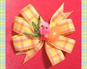 Baby Chick Easter Egg Glitter Grass Plaid Hair Bow