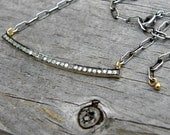 Reserved Listing Payment 4 - Pave Diamond Sterling Silver Gold Necklace Mixed Metal Crescent Unique OOAK