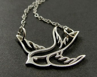 Swallow Necklace, Sterling Silver Swallow Charm on a Silver Cable Chain