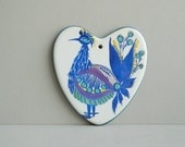 Royal Copenhagen Fajance Ceramic Heart Shaped Peacock Wall Plaque or Trivet