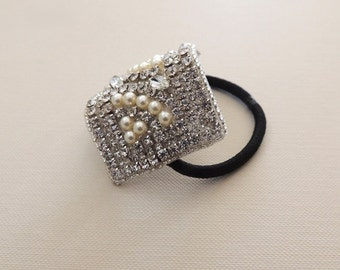 Bridal Wedding Beaded Ponytail Holder Hair tie Fancy Pearls