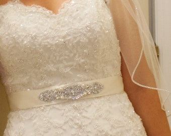 Sophia Bridal Wedding Dress Rhinestone Crystal Embellished Belt Sash Vintage Wedding Art Deco