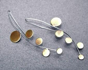 Modern architectural earrings, long statement earrings, edgy drop earrings, mixed metal earrings, unusual earrings, wearable art jewelry