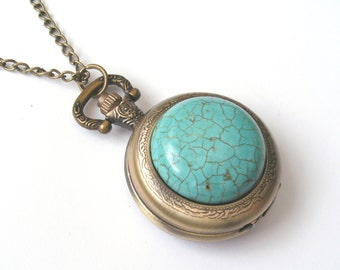 Turquoise Necklace, Turquoise Pocketwatch Necklace, Watch Necklace, Turquoise Cabochon