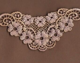 Hand Dyed Venise Lace Sweet Grace Floral  Aged Vintage Violet