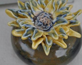 Sunflower Spice Jar, Jewelry Box, Ring Dish