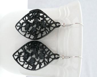 Black Leaf Dangle Earrings