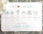 PRINTED Wedding Itineraries - I do and I do Toos - Style IT3 - COUNTRYSIDE COLLECTION