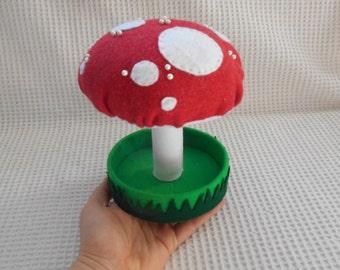 Mushroom Sewing Caddy Pin Cushion Spotty red and White Mushroom