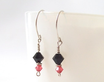 sterling silver crystal beaded earrings black pink dangle bead metalwork metal accessories accessory womens modern
