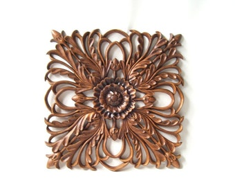 vintage 1990's brown flower leaves wall hanging plaque acorns decorative home decor modern retro woodland nature neutral ornate
