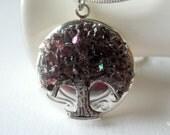 Amethyst Locket,  Stained Glass, Tree of Life Locket, February Birthstone, Purple Locket, Iridescent Jewelry, Bridesmaid Gift
