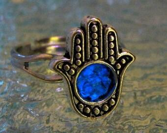 Hamsa Ring, Glow in the Dark Ring, Silver Hamsa Ring, Blue Hamsa Ring, Glowing Ring, Hamsa Jewelry