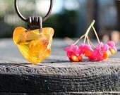 Raw Baltic Amber Man Necklace Pendant Charm Rough Stone Jewelry Honey Natural Butterscotch Unisex Zen OOAK Huge Big