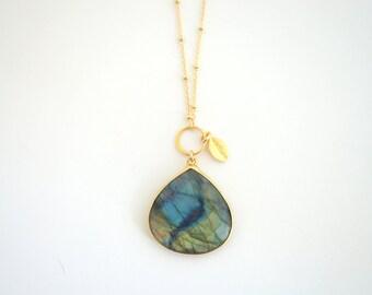 Long Labradorite Pendant Necklace, Long Gold Necklace, Long Pendant Necklace, Layering Necklace, Everyday Necklace, Long Stone Necklace