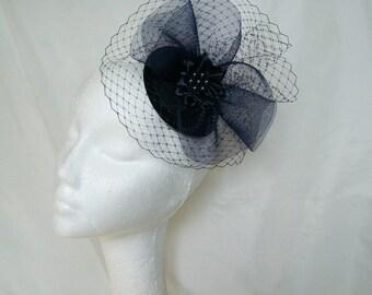 Navy Midnight Blue Blusher Veil Crinoline Pearl Crystal & Rhinestone Sinamay Wedding Fascinator Mini Hat- Custom Made to Order
