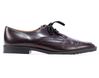 Vintage Mens Dress Shoes . BROGUES Brown Leather 1980s Oxfords Ball Evening Shoes Retro 80s . eur 40.5 , uk 7, us mens 7.5 , us womens 10