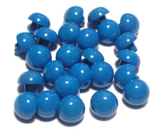Blue Vintage Plastic Buttons 9mm Dome Shaped with Shanks Set 25