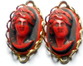 Vintage Cameo Connectors Lace Loops Oval Red Lady Black 23mm 14mm NOS.  #1128F