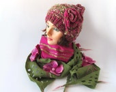 Slouchy Knitted hat and  scarf, Hat and Scarf set,  green, olive, pink, magenta,  Wool Hat,  Handspun Yarn, Wool Art yarn by Galafilc