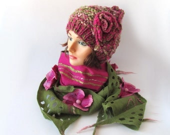 Knitted hat and  scarf, Hat and Scarf set, Beanie hat green, olive, pink, magenta,  Wool Hat,  Handspun Yarn, Wool Art yarn outdoors gift