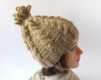 Slouchy Knitted hat, Beige Chunky hat,  Winter women hat,  Warm Wool cozy Hat Pom-Pom hat