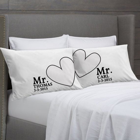 Wedding Gift Ideas For Gay Female Couple : and MR Personalized Pillowcases Gift Idea for Gay Couples Gay Wedding ...
