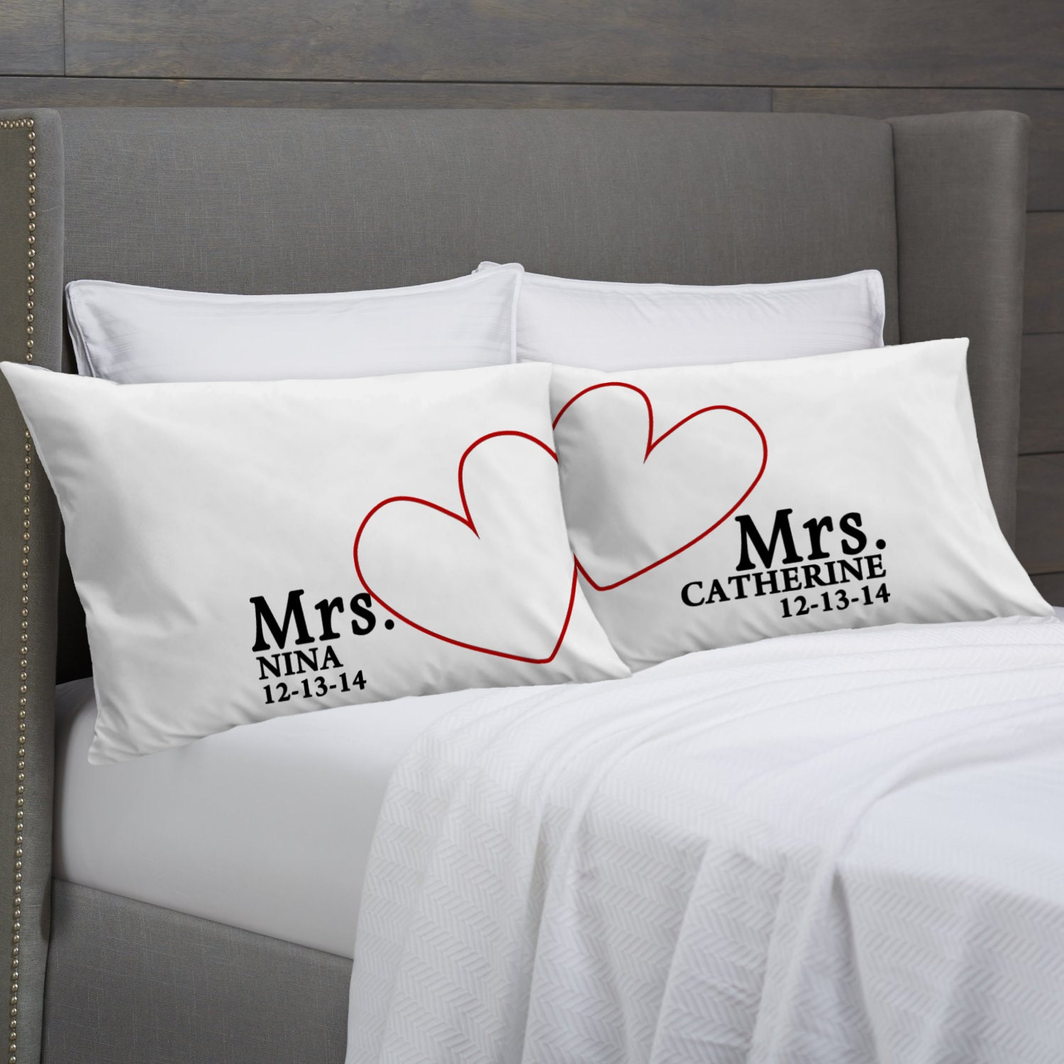 Wedding Gifts For Couples: MRS And MRS Personalized Pillowcases Lesbian Couple Gift Idea