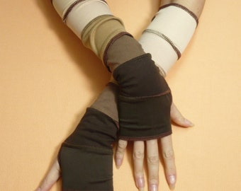 Brown and Beige Fingerless Gloves, Armwarmers in Milk Coffee and Chocolate Color Mix, Upcycled Look, Reconstructed Jersey Sleeves
