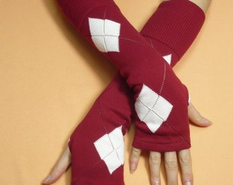 Red White Upcycled Fingerless Gloves,Cotton,  Soft Warm Armwarmers, Elbow Long recycled Striped Knit Sleeves, Boho Style, Tattoo Covers