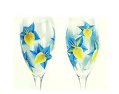 Hand-Painted CRYSTAL Champagne Glasses - Bright Yellow and Blue Orchids, Set of 4, Champagne Flutes a Mariage Wedding Toast Toasting Glasses