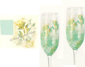 Hand-Painted Champagne Glasses - Mint Green Gold Roses Set of 4 - Custom 50th Anniversary Gift Idea Wedding Wine Glasses