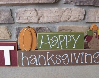 HAPPY THANKSGIVING BLOCKS with pumpkin and turkey blocks for table decor, desk, shelf, mantle, and party decor
