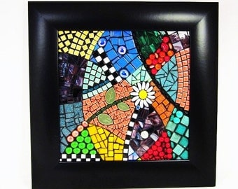 Mosaic wall art, FRESH -- brightly colored mosaic wall art with black and white accents, 12x12, framed