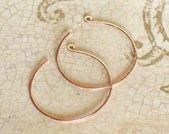 Small Swan Rose Gold Threader Hoop Earrings, Delicate 14k Rose Gold Hoop Earrings, Thin Threader Hoop Earrings, Gifts Under 25 Dollars