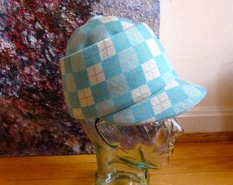 1960s Jacques Heim Bubble Top Jockey Cap Iconic French Designer Hat Original Label Montgomery Ward Aqua Knit Argyle Check