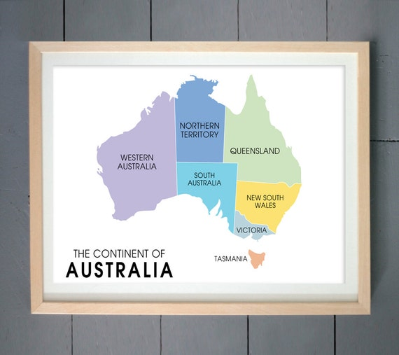 Items similar to australia map wall art print aussie map print australia poster australia map Home decor wall decor australia