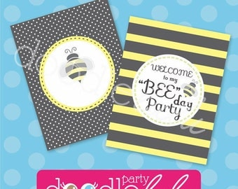 INSTANT DOWNLOAD DIY Printable Bumblebee Party Signs - 4 Versions/Designs from Doodlelulu by 2 june bugs