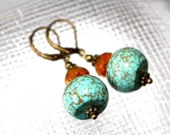 Turquoise And Mustard Dangle Earrings Leverback Earrings Antique Bronze Earrings Czech Glass Earrings