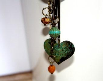 Charm Necklace, Antique Bronze Necklace, Heart Necklace,Czech Glass, Patina