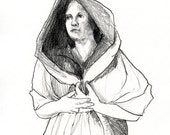 Hood - Original Pencil Drawing Classical signed - A4 - by Evelyn Crow