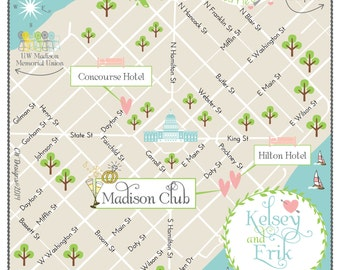 Vintage Wedding Map Infographic (choose your location)