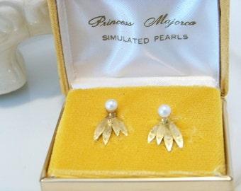 Vintage MAJORICA Pearl Earrings With Gold Over Silver Vermeil Vintage Pearl Clip Back Earrings in Original Velvet Presentation Box